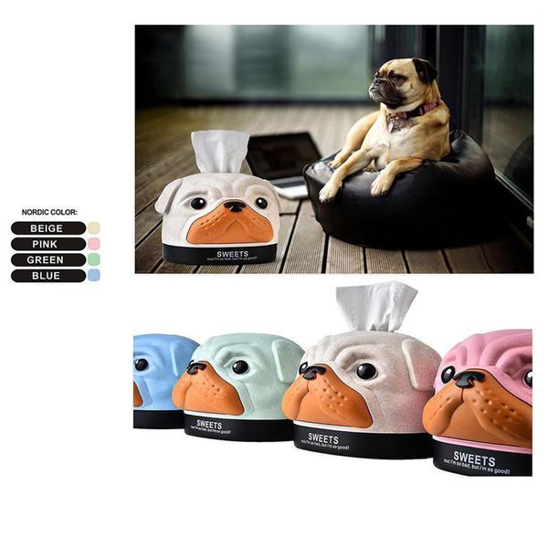 Tissue Box Lovely Dog Napkin Boxes Tissue Storage Napkin Cases Home Office Cartoon Cover Holder LJJL43