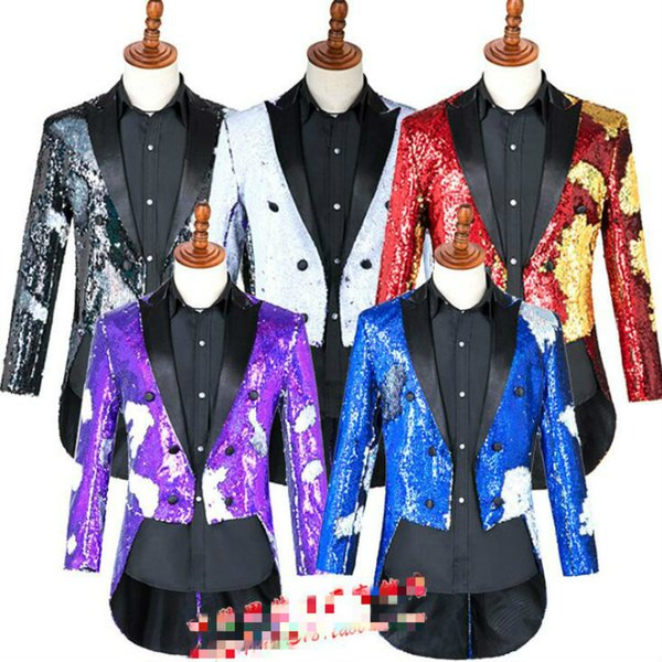 Hot Magician sequins tuxedo command uniform host costume male 2019 new male singer stage performance suit