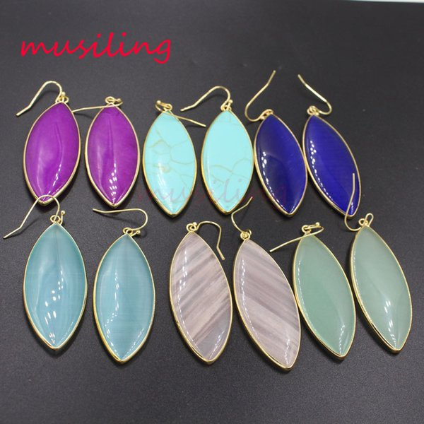 Natural Stone Horse Eye Drop Earrings 18K Gold Plated New Charms Wholesale Leaf Ear Accessories Fashion Jewelry For Women Gifts