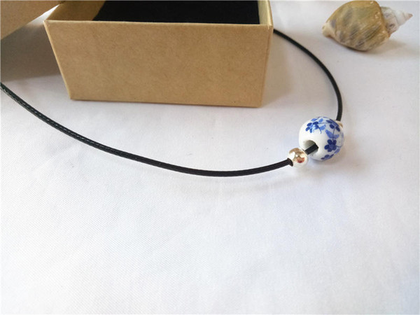 cecmic customized chinese ceramic round beads necklace pendants for mom cheap wholesale silver plate jewelry chains in chains
