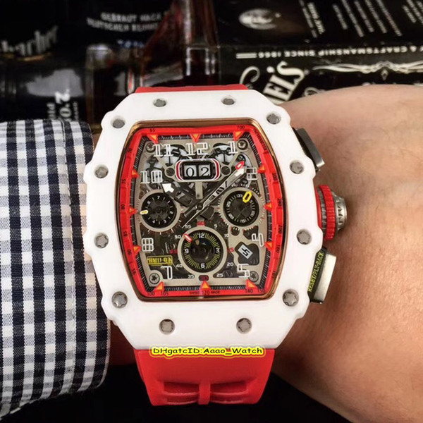 Best Edition RM 011 Skeleton Big Date Dial White Ceramics Case Japan Miyota Automatic RM11-03 Mens Watches Red Rubber Strap Sport Watches