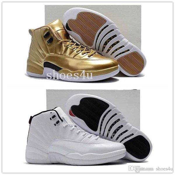 Высокое Качество 12 Металлик Золото Мужчины Баскетбольная Обувь 12S Золото Спортивные Кроссовки Дешевые 12s Pinnacle Металлик Золото С Оригинальной Коробке