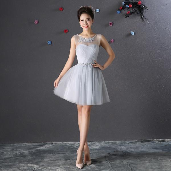 Encolure dégagée tulle robe de demoiselle d'honneur courte avec longueur de genou en dentelle 2019 dentelle up demoiselle d'honneur robes robe Invitada