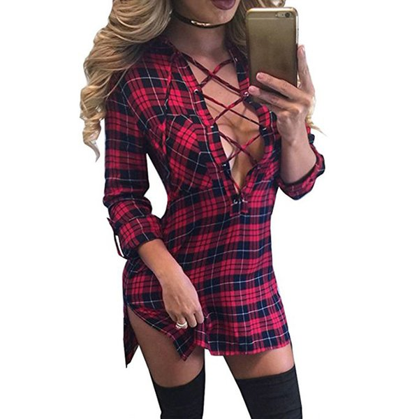 Women Plaid Shirt Dress 2019 Sexy Deep V-Neck Lace Up Bandage Mini Dress Long Sleeve Party Bodycon Dress Casual Club Vestidos XL