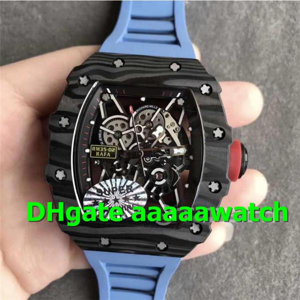 KVF Luxury Men Watch 035 02 Watch Rafael Nadal Forge Carbon Titanium Case Skeleton Dial Blue Rubber Strap Miyota 8215 Automatic Movement