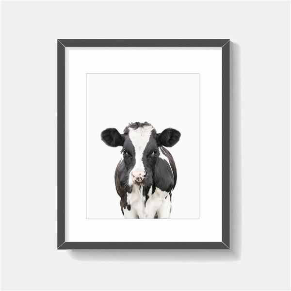La mucca ritratto animale minimalista arte tela pittura HD parete foto Poster e stampa decorativa Home Decor