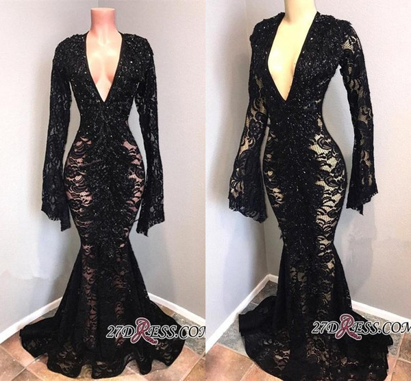 2019 New Real Photos V Neck Full Lace Evening Dresses Black Long Sleeves Sexy Mermaid Prom Dresses Floor Length robes de soirée