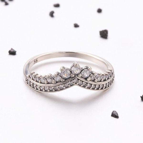 Настоящее серебро женская корона кольцо мода стерлингового серебра 925 обручальные кольца День Святого Валентина подарок для Gils