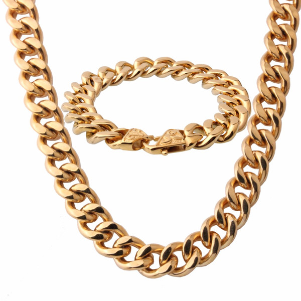 13/15mm Wide Polishing Silver/Gold/Black/Rose Gold Men's Bracelet&Necklace Jewelry Sets Stainless Steel Curb Cuban Link Chain
