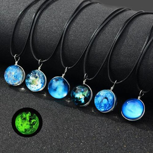 7pcs New Handmade Double Sided Glass Ball Noctilucent Pendant Necklace Harajuku Universe Dream Starry Sky Vintage Girl Party Jewelry