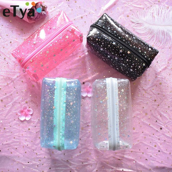 eTya Travel Transparent Small Makeup Bags PVC Women Beauty Cosmetic Bag Case Travel Toiletry Wash Organizer Storage Pouch Case