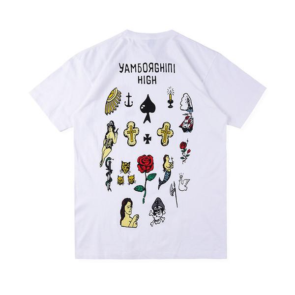 Mens Designer T Camisas de Rua de Alta Moda Marca Asap Rocky YMAS Dia Yamborghini Alta Mão Casual Desenhada Elementos de Impressão Mangas Curtas