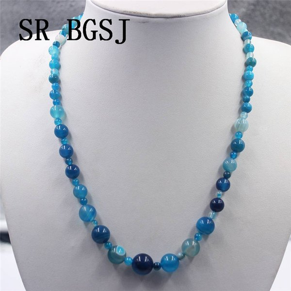 Free Shipping 4-12mm Blue Stripe Agat Onyx Graduated Natural Gems Genuine Stone Adjustable Choker Necklace 18