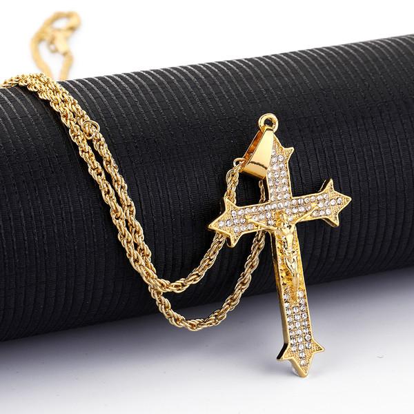 New Hip hop pendant necklace jesus Cross pendant necklace Crystal rhinestone Hip hop Hiphop jewelry wholesale factory direct