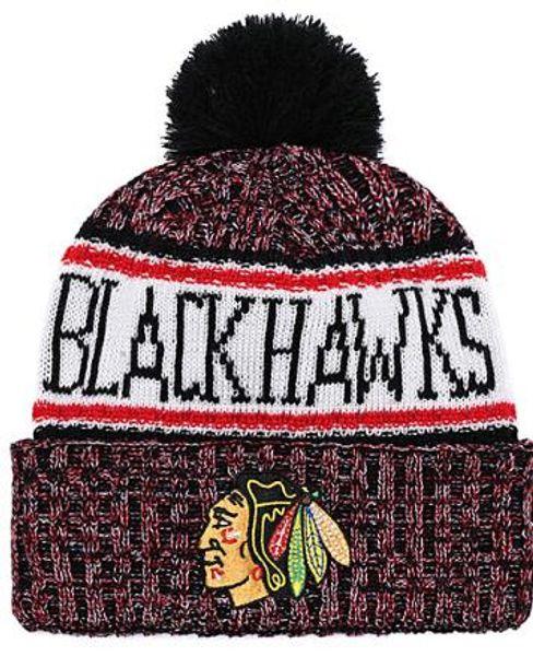 BLACKHAWKS Ice Hockey Knit Beanies Embroidery Adjustable Hat Embroidered Snapback Caps Orange White Black Stitched Hat One Size