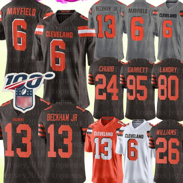 Cleveland Brown # 6 de Baker Mayfield Jersey 13 Odell Beckham Jr Jersey 24 Nick Chubb 95 Myles Garrett 80 Landry de Ward Williams jerseys 26