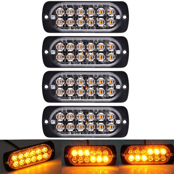 4 Pcs 12 LED âmbar flash piscando Recuperação Strobe Car Sinal de Emergência Led Laranja Grill Breakdown Luz nevoeiro Beacon