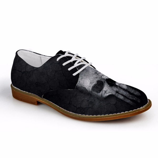 Customized Black Cool Men Oxfords Shoes Casual Synthetic Leather Fashion Skull Pattern Men's Business Oxfords Shoes for Man