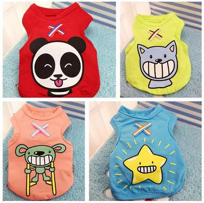 New Summer Dog Clothes Apparel Cat Vest Small Sweater Pet supply Cartoon Clothing Cotton t shirt For Puppy Poodle Cheap Jumpsuit Outfit