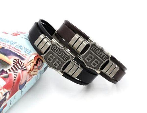 Mens Fashion ROUTE 66 Rivet Charm Bracelets Punk Retro Multilayer Leather Bracelets for Men Women Customize Cuff Bangles Jewelry Gifts K3614