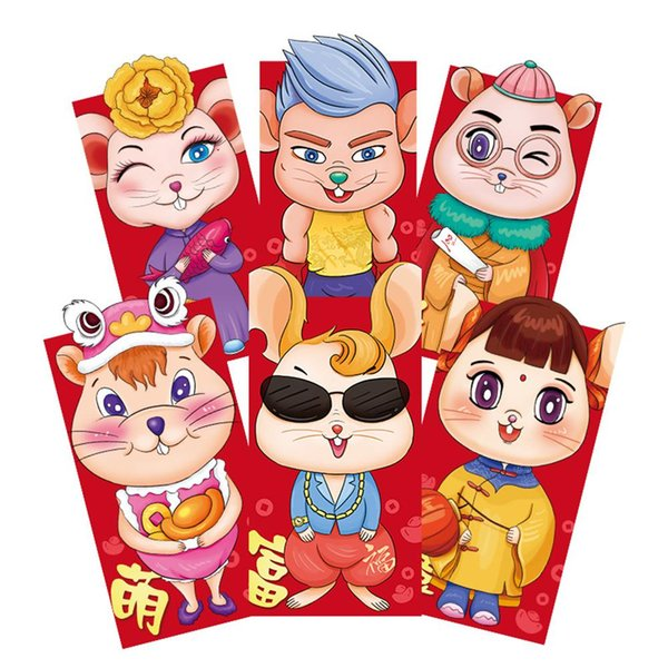 r Nouvel An Enveloppe rouge Cartoon Zodiac Rat Motif rouge Fête du Printemps Mariage Anniversaire Enveloppe