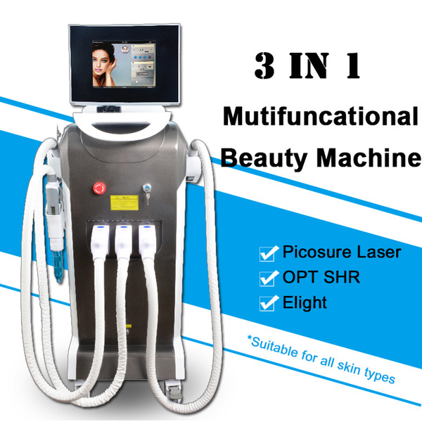 3 IN 1 Picosure Lazer dövme kaldırma Makinesi Ultra Benekler Elight Cilt Gençleştirme OPT SHR Kalıcı Saç Dökülmesi Ekipmanları