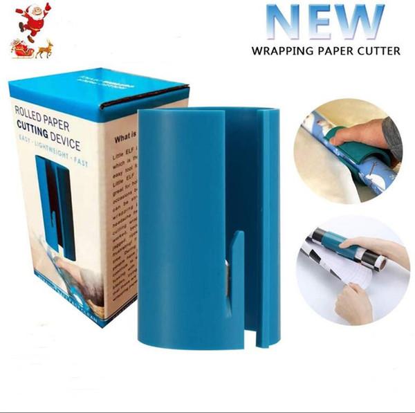 2019 Natal de corte Papel de Embrulho Cortador de Segurança Plastic Lip Feito rápida Fácil Xmas Gift Packaging Sliding Ferramentas caixa de embalagem A101701