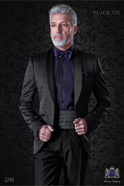 Moda Noivo Smoking xaile lapela Groomsmen One Button Custom Made Men ternos de casamento / Prom / Jantar melhor homem (jaqueta + calça + gravata) W388