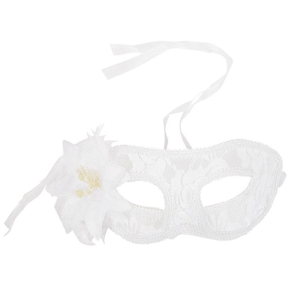 AFBC Venetian Party Eye Mask Feather Lace Flower Masquerade Ball Carnival Fancy Dress (white)