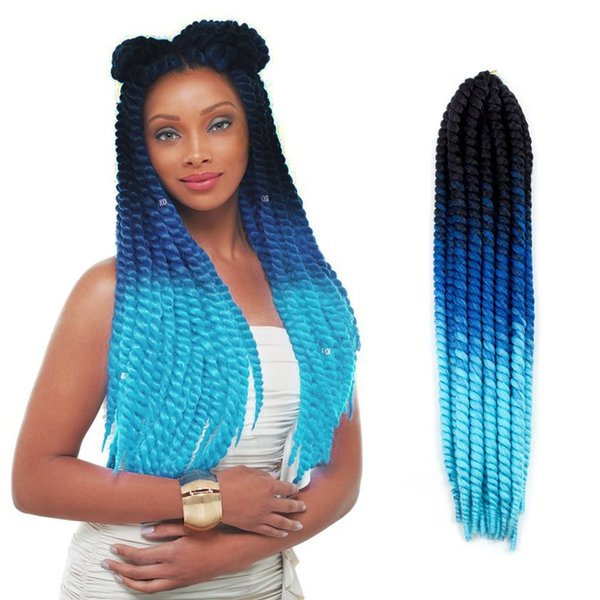 "120g 22"" 12strands/pc Green Purple Brown Blue Grey Ombre Havana Mambo Twist Crochet Braids Synthetic Braiding Jumbo Pre TWIST Hair"