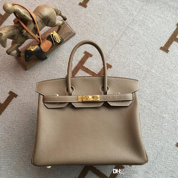 women 50% hand-made classic Togo leather handmade Stitching Authentic classic togo bags handbags gray ladies best quality shoulder bag