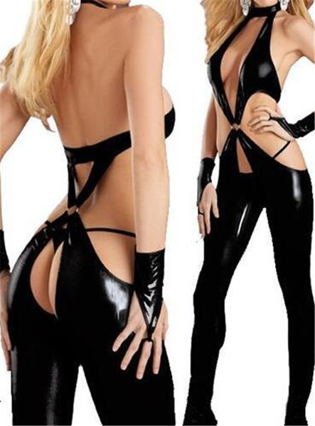 New Sexy Catsuit Backless Bodysuit Crotchless das Mulheres Lingerie De Látex Nightwear Teddies Stripper Roupas Teddy Dance Costume Para Stage Show