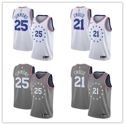on sale ead46 daf96 2019 Men' 76ers #21 Joel Embiid 25 Ben Simmons 23 Jimmy Butler White Gray  2018/19 Swingman Jersey City Edition From Customjersey18, $16.25 | ...