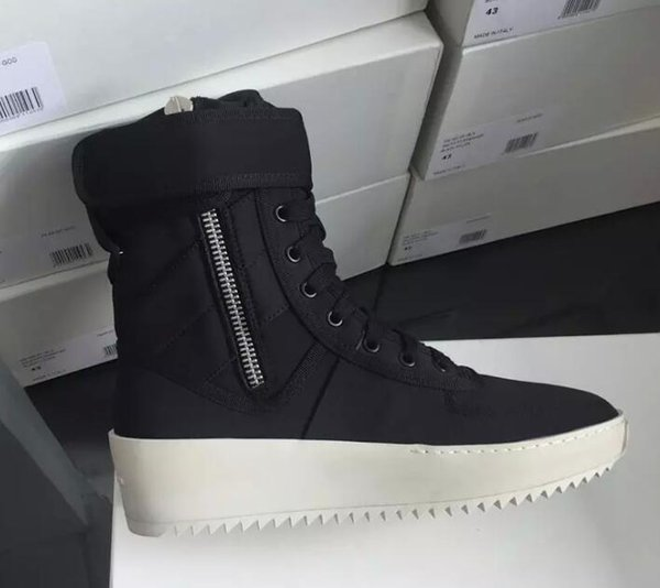 2019 hot Best Black and White Quality Fear of God Top Military Sneakers Hight Army Boots Men and Women Fashion Shoes Martin Boots size 38-46
