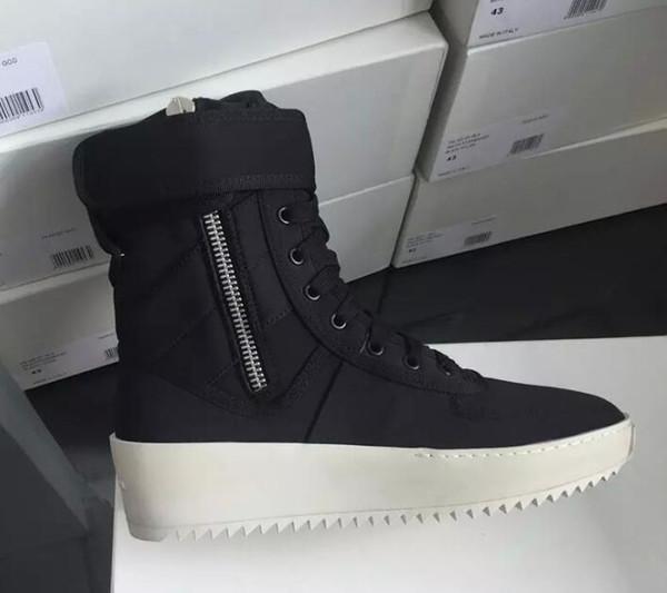 2019 sıcak En Iyi Siyah ve Beyaz Kalite tanrı korkusu Üst Askeri Sneakers Yüksekliği Ordu Çizmeler Erkekler ve Kadınlar Moda Ayakkabı Martin Çizmeler boyutu 38-46