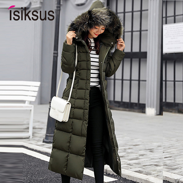 Isiksus Padded Warm Down Jackets Womens Winter Plus Size Long Quilted Black Hooded Fur Coat Jacket 2018 Parkas for Women WP013 T5190612