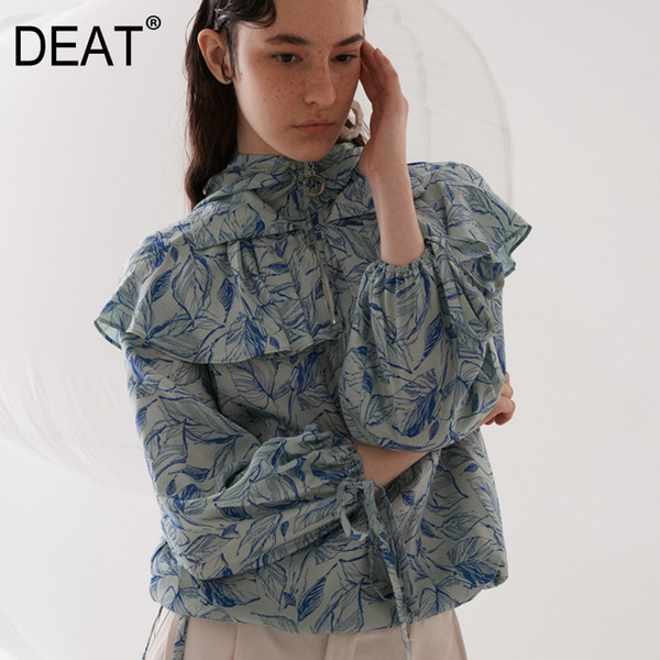 DEATG 2019 new spring and summer vintage women shirt turn-down collar full sleeves drawtring zippers pullover sweatshirt WF02305