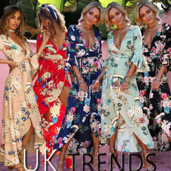 2019 Womens Floral Kimono V Plunge Flare Sleeve Ladies Maxi Wrap Holiday Dress Sexy Asymmetrical Casual Summer Beach Wear Size S-3XL