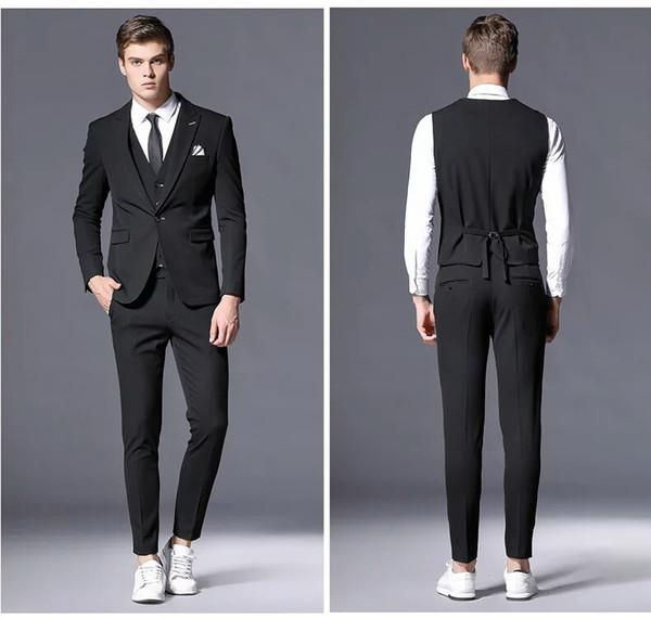 Black Men Suits for Wedding Slim Fit Groom Wedding Tuxedo 3Piece Latest Coat Pants Vest Peaked Laple Costume Homme Best Men Blazer Jacket