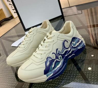 2019 Mens Women Casual Shoes Rhyton Vintage Trainer Sneakers Fluorescent color Leather Sports Dance Dad Shoes Sports Oversize Trainers 500