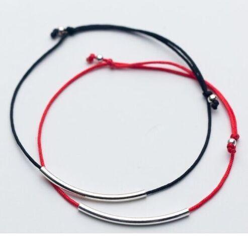 Geben Sie silberne Schmucksache-Schwarz-rote Schnur-Lächeln-Stab-dünnes Rohr des Schiffs 50pcs / lot glückliche Armband-justierbare Armbänder HEISS ab