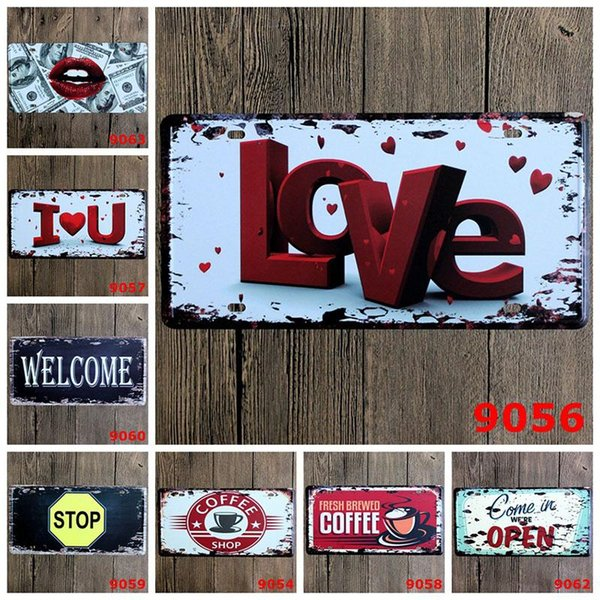 Love Welcome Coffee Stop Car Metal License Plate Vintage Home Decor Tin Sign Bar Pub Cafe Garage Decorative Metal Sign Art Painting