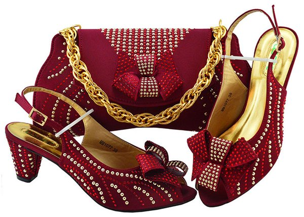 Fashion Wine Color African Women Matching Italian Shoes and Bag Set Decorated with Rhinestone Italian Ladies Shoe and Bag MM1077