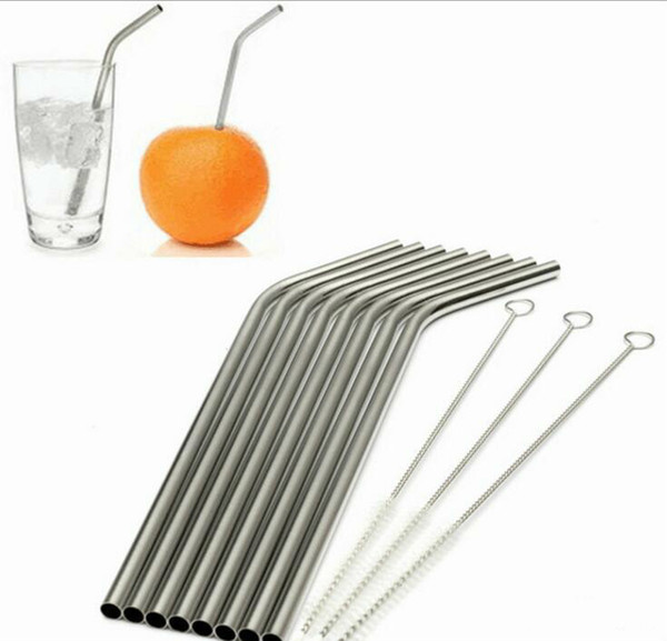 Best More size straight and bend stainless steel straw cleaning brush reusable drinking straw bar drinking tool drinking Straws Drinkware