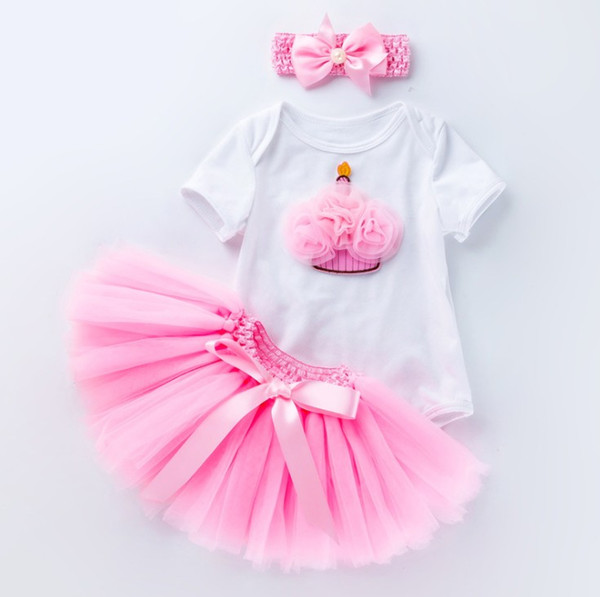 Baby 6 month 1 year birthday dress up infant babies tutus skirts+rompers suit with headband 3pcs clothing set for toddler gifts