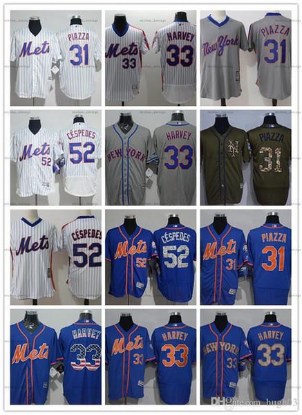 обычай Мужчины женщины молодежь Нью-Йорк Метс Джерси # 33 Мэтт Харви 31 Майка Пьяцца 52 Йоэнис Сеспедес Синие бейсбольные майки