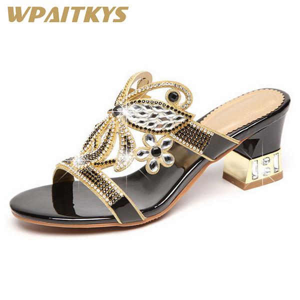 Großhandel Neue Porzellan Frauen Strass Sandalen Mode Goldene Lila Schwarz Drei Farben Kristall Leder Freizeitschuhe Frauen Hochzeit Von