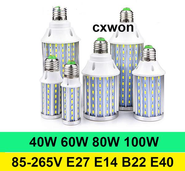 Luz de maíz super brillante LED E40 E14 E27 B22 SMD5730 360 ° 85-265V Ángulo de alta potencia 40W 60W 80W 100W Bombilla de lámpara de maíz