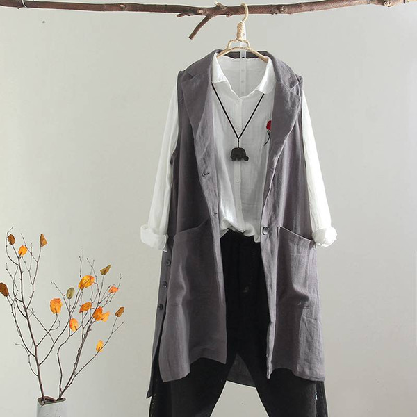 Plus Size Vests For Women Casual Long Cardigan Coat Female Button Gilet Top Femme Vintage Sleeveless Jacket Outwear Overcoat 5XL