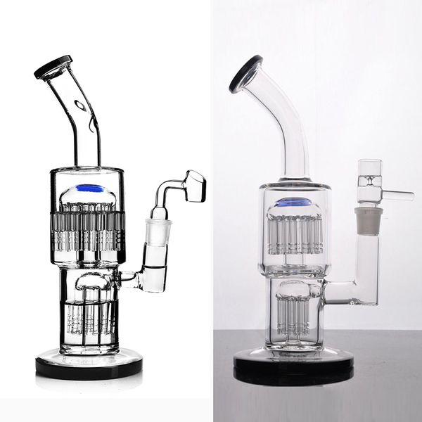 bongs de vidrio reciclador burbujeador de toro con difusa doble árbol de brazo aparejo DAB tubería de agua perc con 18 mm conjunta